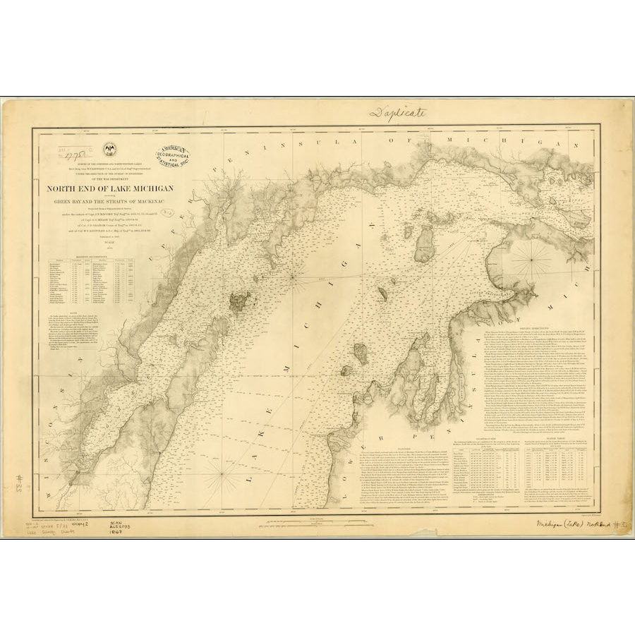 1867 North End Of Lake Michigan Map Publications
